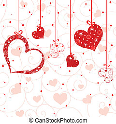 St Valentine greeting card red heart shape on seamless...