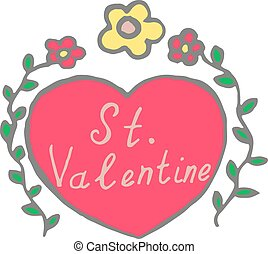 St Valentine heart  with flowers doodle.