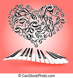 St. Valentine love card with hearts and piano keys. Music of love.