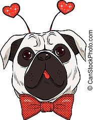 St. Valentine Pug Dog - Cute St. Valentine pug dog showing...