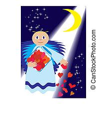 St. Valentine sow love in night, vector illustration