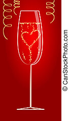 St. Valentine\'s background - Heart from bubbles in the...