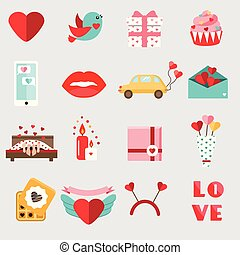 St Valentine's day icons. Set of colorful flat romantic, love holidays symbols