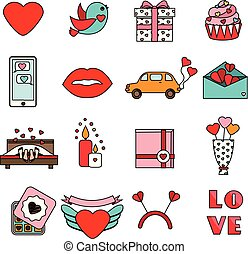 St Valentine's day icons. Set of colorful romantic, love holidays symbols