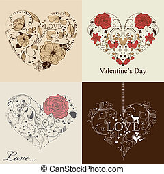 St. Valentine's day set - Vector set of 4 cards with hearts