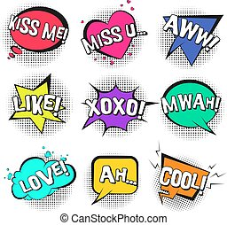St. Valentines retro comic speech bubbles set