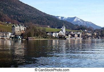 St. Wolfgang village waterfront at Wolfgangsee lake in Austria