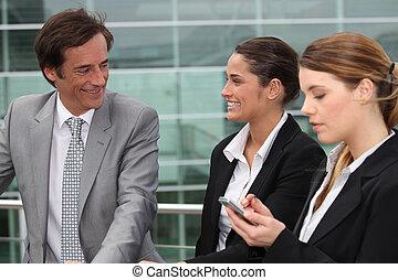 stał, handlowy zaludniają, trzy, zewnątrz, miejsce pracy