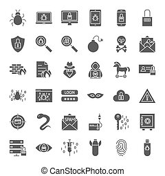 stały, sieć, bezpieczeństwo, cyber, ikony