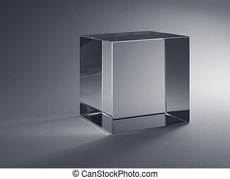stały, szkło, sześcian