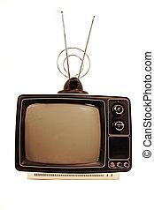 stały, telewizja, stan, retro