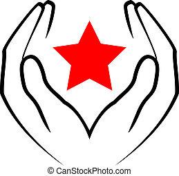 sta, -, vektor, halten hände, rotes , ikone