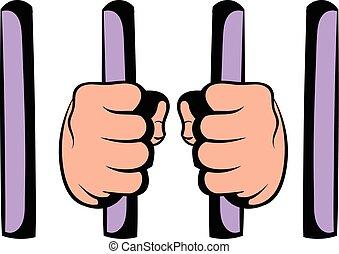 staaf, achter, gevangenis, pictogram, pictogram, spotprent, man