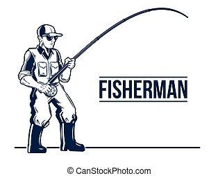 staaf, fisherman., embleem, visserij, etiket