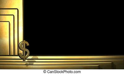 staaf, goud, symbool, dollar, het spinnen, voorkant