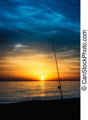 staaf, ondergaande zon , visserij