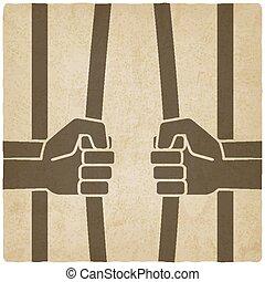 staaf, oud, vrijheid, concept., verbreking, gevangenis, achtergrond, handen
