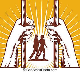 staaf, paar, hand, erachter kijkend, gevangenis, man