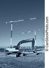 staal, afgedwingenene, bouwterrein, op, beton, bouwsector, opstand, lijstjes