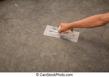 staal, afwerking, opgepoetste, trowel, oppervlakte, hand, beton, nat, gebruik