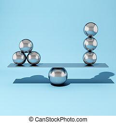staal, bal, het in evenwicht brengen