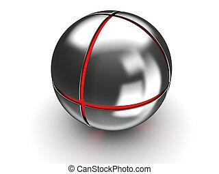 staal, bal, met, rood, kern