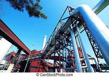 staal, blauwe , industriebedrijven, pijpleidingen, hemel, tegen, zone, kleppen