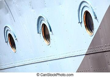 staal, blauwe , scheeps , venster, achtergrond