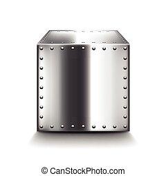 staal, doosje, witte , vector, vrijstaand