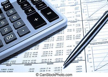 staal, financieel, rekenmachine, graphs., pen, data