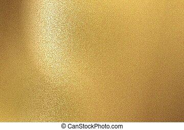 staal, gouden muur, abstract, textuur, achtergrond, geborstelde