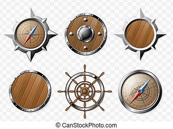 staal, houten, set, communie, nautisch