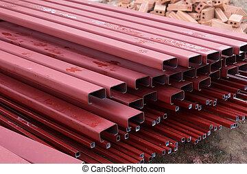 staal, huizenbouw, bar, stapel