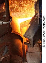 staal, industrie, vloeistof, gesmolten