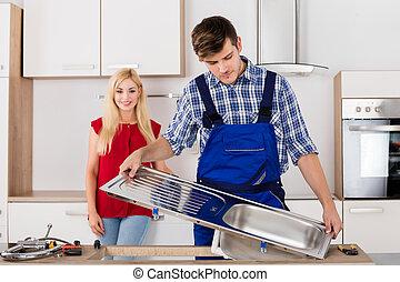 staal, installatiebedrijf, repareren, zinken, roestvrij, mannelijke , keuken