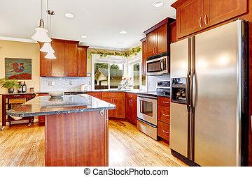 staal, interieur, kamer, koelkast, keuken