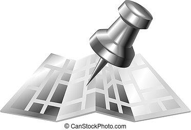 staal, kaart, metaal, spelden, pictogram