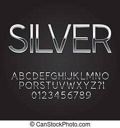 staal, lettertype, mager, getallen, snipper