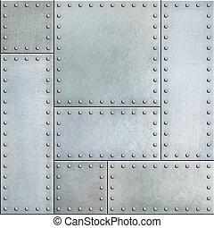 staal, metaal, seamless, achtergrond, platen, klinknagelen