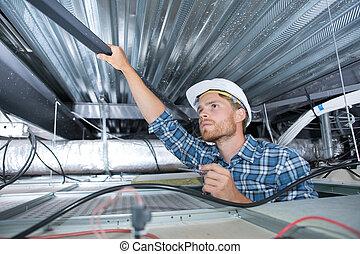 staal, plafond, het verwijderen, arbeider, balk, bouwsector