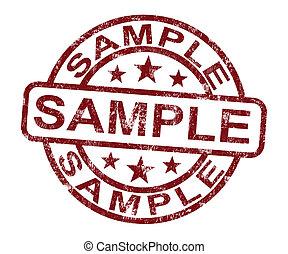 staal, postzegel, optredens, voorbeeld, symbool, of, proeven
