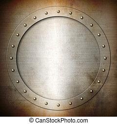 staal, roestige , geborstelde, ronde, frame