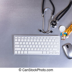staal, roestvrij, medisch, stethoscope, geneeskunde, tafel, technologie