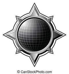 staal, roos, globe, black , kompas, binnen