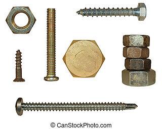 staal, schroef, bouten, nootjes, hoofden