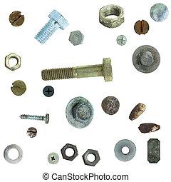staal, schroef, oud, hoofden, bouten, nootjes