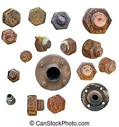 staal, schroef, oud, hoofden, bouten, roestige