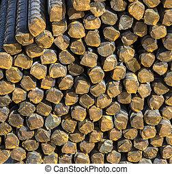 staal, staven, gebruikt, textuur