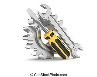 staal, tandwiel, werktuig, schroevendraaier, moersleutel