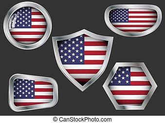 staal, vlag, set, kentekens, usa